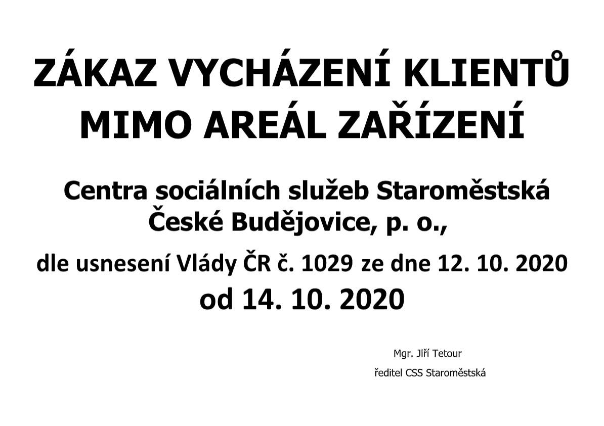 Zákaz vycházení klientů od 14. 10. 2020